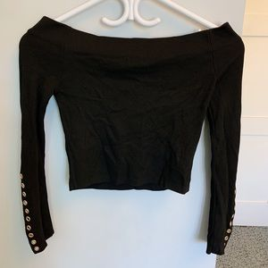 Petite Topshop Off-The-Shoulder Top (Black, US 2)